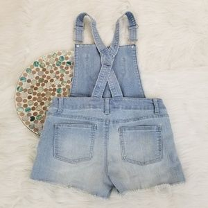 Cherokee Bottoms - Cherokee Bib Overalls Cut Off Denim Shorts Lace